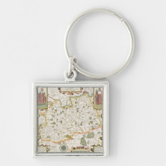 Map of Surrey, engraved by Jodocus Hondius Key Chain
