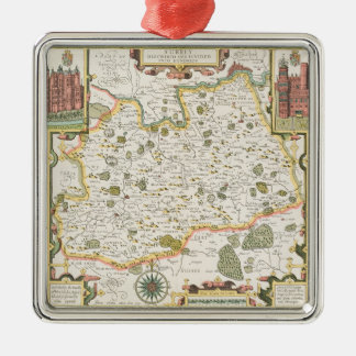 Map of Surrey, engraved by Jodocus Hondius Metal Ornament