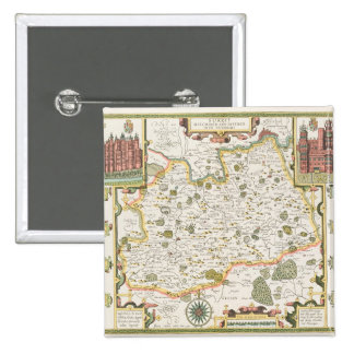 Map of Surrey, engraved by Jodocus Hondius Pinback Button