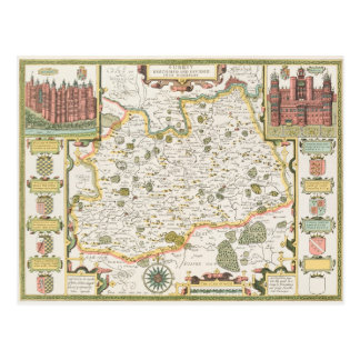 Map of Surrey engraved by Jodocus Hondius Post Card