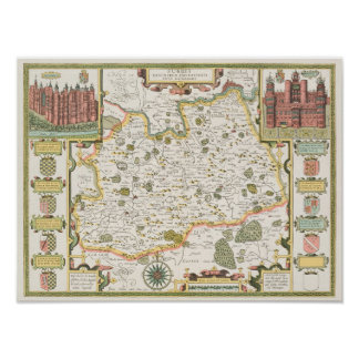 Map of Surrey, engraved by Jodocus Hondius Poster
