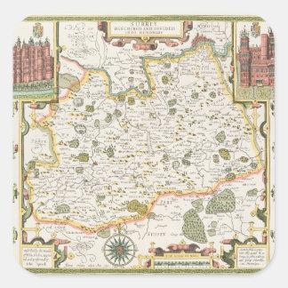 Map of Surrey, engraved by Jodocus Hondius Square Sticker