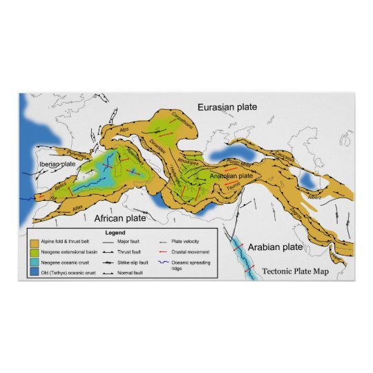 Map of Tectonic Plates of the Mediterranean  Alps Poster  Zazzlecom