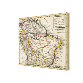 Map of Terra Firma, Peru, Amazone Land, Brasil Canvas Print