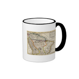 Map of Terra Firma, Peru, Amazone Land, Brasil Ringer Coffee Mug