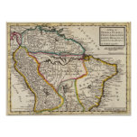 Map of Terra Firma, Peru, Amazone Land, Brasil Poster