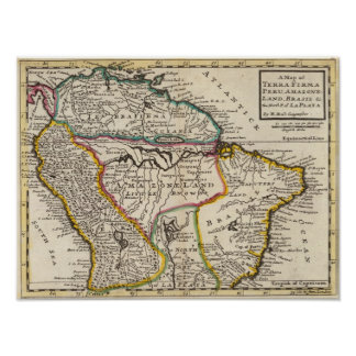 Map of Terra Firma, Peru, Amazone Land, Brasil Poster