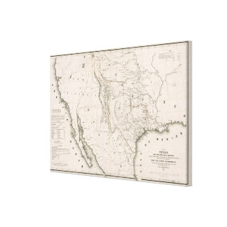 Map Of Texas And The Countries Adjacent Canvas Print