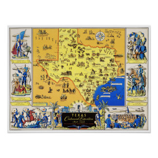 Map of Texas from the Centennial Exposition in 183 Poster