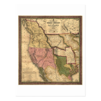 Map of Texas Oregon and California (1846) Postcard