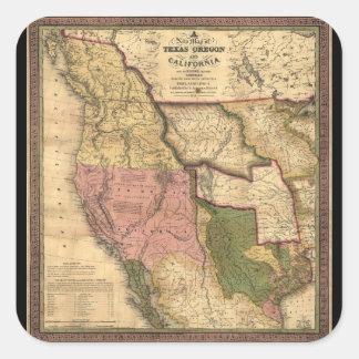 Map of Texas Oregon and California (1846) Square Sticker