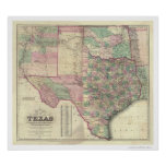 Map of Texas Territory by Colton 1872 Poster