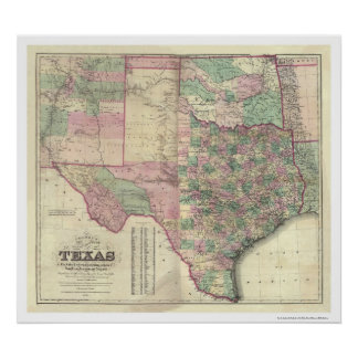 Map of Texas Territory by Colton 1872 Print