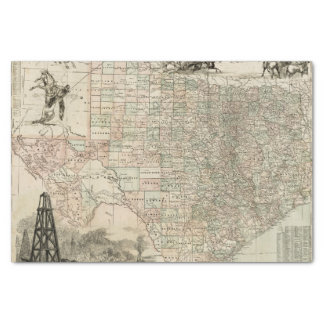 """Map of Texas with County Borders 10"""" X 15"""" Tissue Paper"""