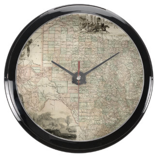 Map of Texas with County Borders Aquavista Clocks