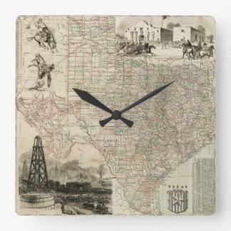 Map of Texas with County Borders Square Wall Clocks