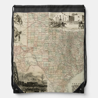Map of Texas with County Borders Drawstring Backpack