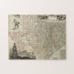 "Map of Texas with County Borders Jigsaw Puzzle<br><div class=""desc"">This amazing map of the state of Texas shows how the county lines were drawn. It alaso contains renderings of the Alamo,  an oil derrick,  and cowboys on horses. Show a little love to the Lone Star State by purchasing this print!</div>"