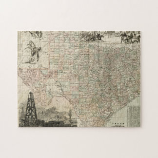Map of Texas with County Borders Jigsaw Puzzle