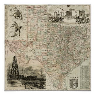 Map of Texas with County Borders Poster