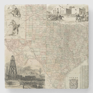 Map of Texas with County Borders Stone Coaster