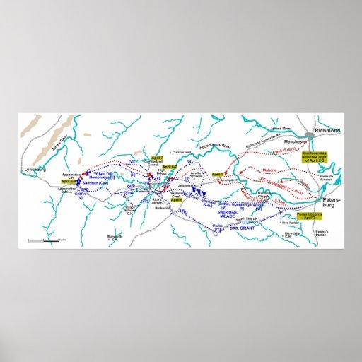 Map of the American Civil War Appomattox Campaign Poster