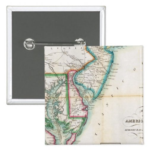 Map of the American Coast 2 Inch Square Button