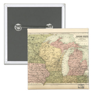 Map of the American MidWest (1873) Button
