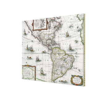 Map of the Americas, 1631 (coloured engraving) Canvas Print