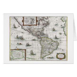 Map of the Americas, 1631 (coloured engraving) Card