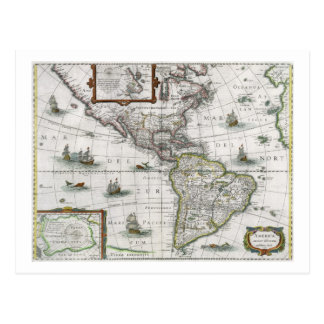 Map of the Americas, 1631 (coloured engraving) Postcard