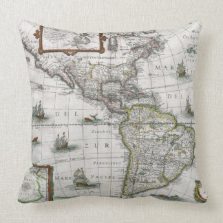 Map of the Americas, 1631 (coloured engraving) Throw Pillow