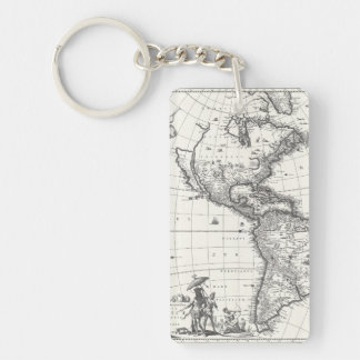 Map of The Americas 1669 Keychain