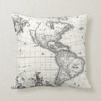 Map Of The Americas 1669 Pillow by DigitalDreambuilder at Zazzle