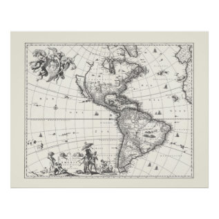 Map Of The Americas 1669 Poster at Zazzle