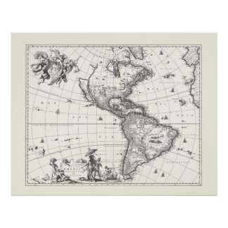 Map of The Americas 1669 Poster