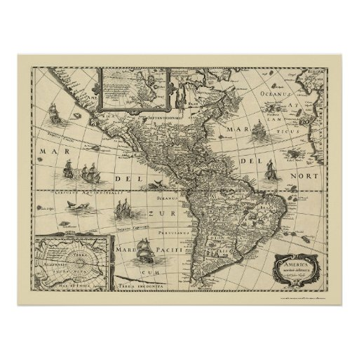 Map of the Americas by Hondio 1640 Poster