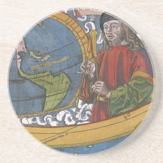 Map of the Americas with Explorer Amerigo Vespucci Drink Coaster