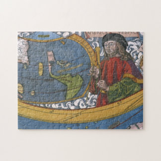 Map of the Americas with Explorer Amerigo Vespucci Jigsaw Puzzle