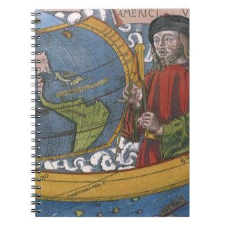 Map of the Americas with Explorer Amerigo Vespucci Notebook