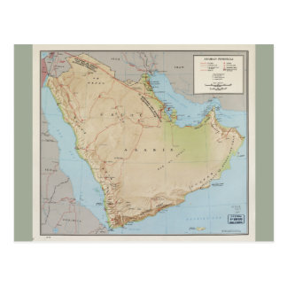 Map of the Arabian Peninsula (1969) Postcard