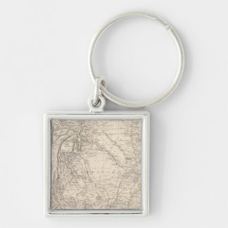 Map of the Argentine Confederation Silver-Colored Square Keychain