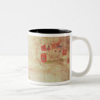 Map of the Atlantic Ocean, c.1550 Two-Tone Coffee Mug
