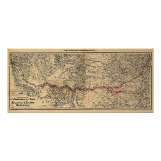 Map of The Atlantic & Pacific Railroad, 1883 Poster