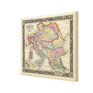 Map Of The Austrian Empire Stretched Canvas Prints