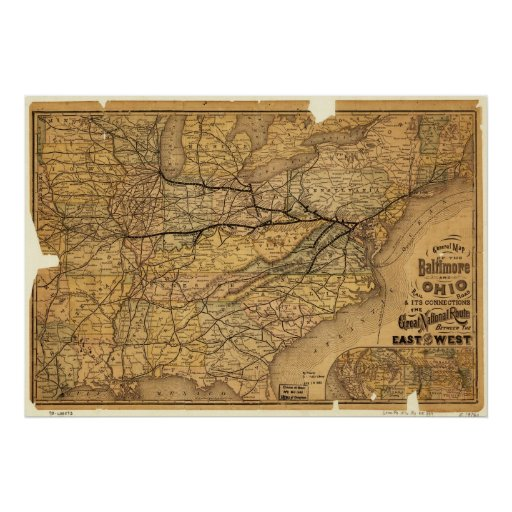 Map of the Baltimore and Ohio Railroad in 1876 Poster