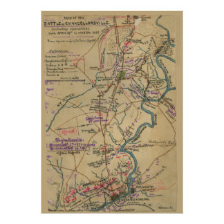 Map of the Battle of Chancellorsville Poster