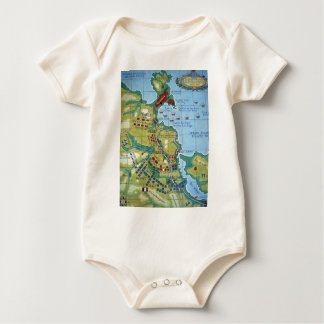 Map of the Battle of Corunna Baby Bodysuit