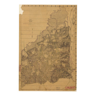 Map of the Battlefield of Shiloh April 6 & 7, 1862 Wood Canvas