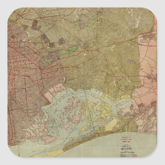 Map of the Borough of Queens New York (1923) Square Sticker